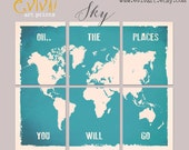World Map Wall decor Inspiration quote Oh.. the places you will go -  Split World Map Print - Six Prints