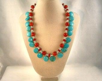 Arizona Sunset-Turquoise-Magnesite-Coral-Necklace
