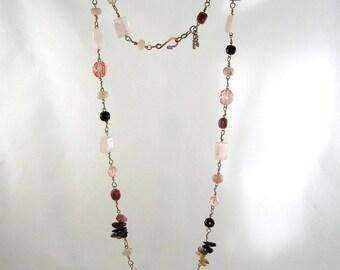 Tickled Pink-Gemstone-Tourmaline-Rose Quartz-Rhodonite-Czech Glass-Pink Opal-28 inch-Necklace