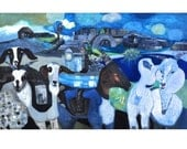 PLAYDATE (Pa's Goats), Acrylic Painting by Sandra Longman Original Art Home Decor Fine Art Diptych Wall Decor Gift - Curiopolis