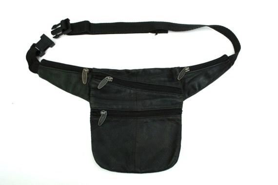 vintage black leather pack utility belt