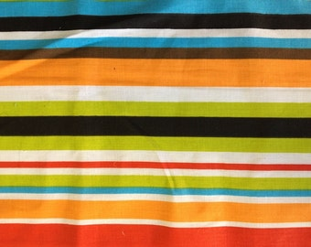 Poly Cotton multi-color Stripes 60 Inch Wide Fabric by the Yard, 1 yard