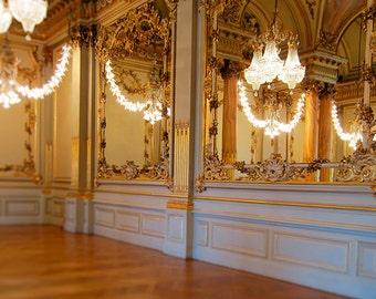 Paris Photography, Fine Art Photograph, Paris Print, Opulent Chandaliere, Romantic Travel, Parisian Decor, Golden Wall Art, Travel Photo