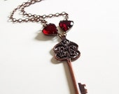 Copper Skeleton Key Replica and Rhinestone Heart Necklace // Vintage Inspired JILLIANS SIGNATURE