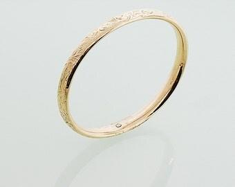 "Antique Bracelet - Antique Etched Gold Bangle - Engraved ""Dec 25, '06"""