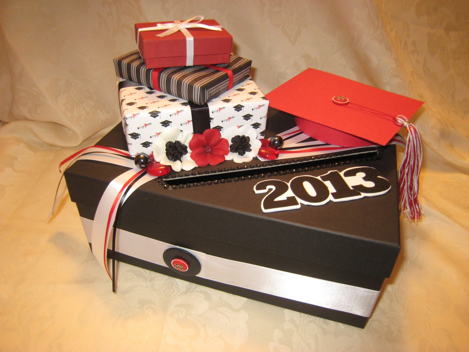 Black Red White Graduation Party Card Box