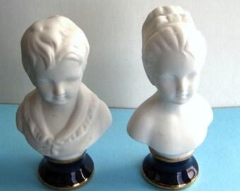 Vintage Bisque Boy and Girl Bust Set