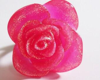 Adjustable Sparkling Flower Ring.In a Sweet Pink