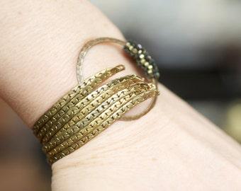 Bead and brass bracelet