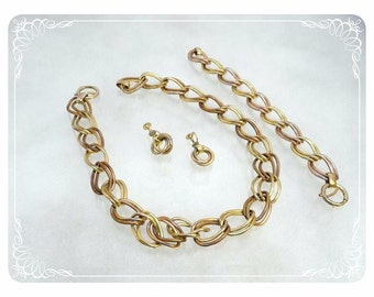 Chunky Vintage Chain Necklace, Earrings and Bracelet Set - Flat Goldtone - 1659a-121012000