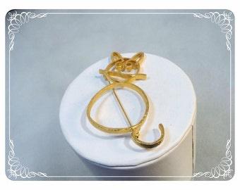 Retro Goldtone Kitty Cat Brooch - Opened Work Outline of Kitty -Pin-1325a-022313000