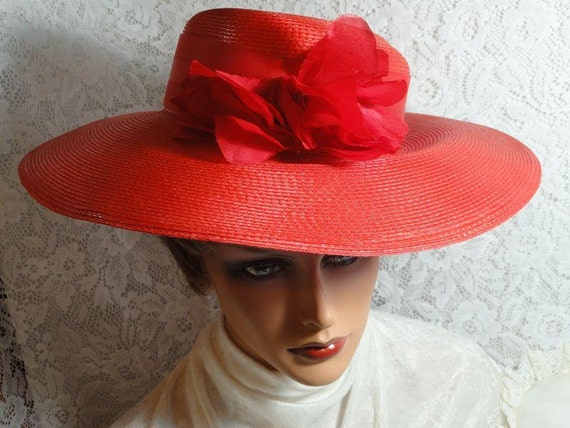 Vintage Wide Brim Red  Straw Hat with Silk Flowers   -  H-024a-040113000