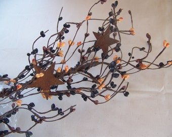 "Pip Berry Garland Primitive and Rusty Star Mix 40"" length"