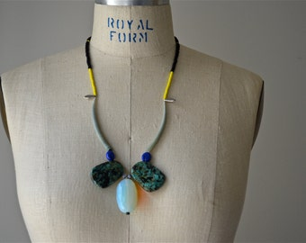 Seriously Bold Faceted Opal and African Turquoise Drop Necklace with Tusk Shell, Czech Glass, and Seed Bead Details