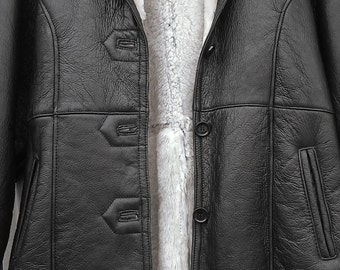 Shearling Leather Black Jacket Size L