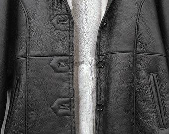 Shearling Leather Black Jacket Size L