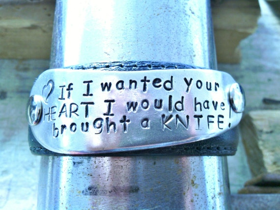 My Anti-Valentine - upcycled leather cuff-hand stamped silverware jewelry
