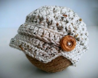 Newsboy Baby Boy Hat, Oatmeal Tweed Crochet Baby Boy Hat, Newborn Photo Prop
