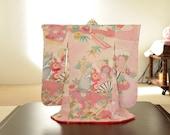 ON SALE,20%off:Mini Kimono with Japanese Vintage Silk Kimono fabric, Pink, flower pattern, No,5