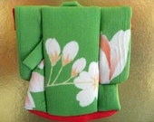 """ON SALE:""""20%OFF,Osie,Grass Green Kimono and Cherry Blossoms Picture on a gold hard paper with kimono fabric"""