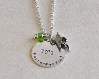 Graduation Necklace - Custom Handmade and Handstamped Necklace - Personalized Necklace for your graduate