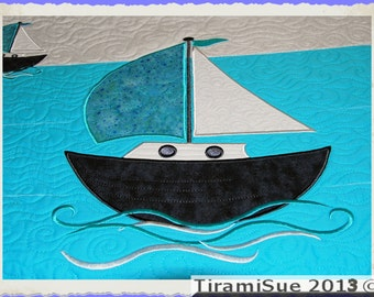 SAILING BOAT LARGE for the 8x12inch/200x300mm hoop  Machine Embroidery Design