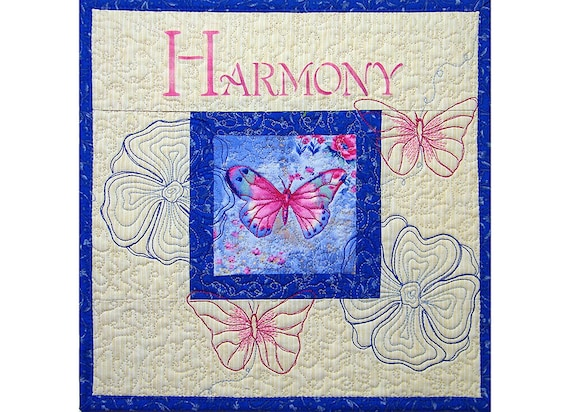 Mini Art Wall Hanging Quilt, Blue and Pink, Butterfly, Under 50
