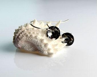 All Sterling Swarovski Sparkiling Black Disc Earrings, Minimalist Dainty Drops Jewelry