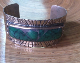 Malachite giant Crush Inlay Cuff : Rustic Deep Stamp Detailing Sterling Silver Marked SS Circa 1950s