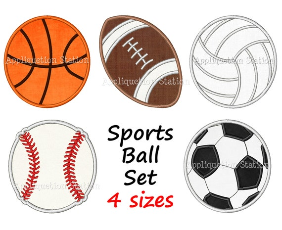 Sports Ball Set Applique Machine Embroidery Design Boy Baseball, Football, Basketball, Soccer Ball, Volleyball INSTANT DOWNLOAD