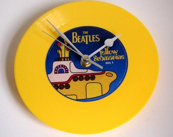 "The Beatles, Vinyl Record CLOCK, a recycled 7"" record, Yellow Submarine, Bright Yellow, Beatlemania, reproduction, handmade item, fan homage"