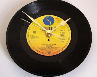 """MADONNA Vinyl Record CLOCK  """"Crazy For You"""" or choose your favourite Madonna track. Wall clock made from a 7"""" vinyl record. Fun girls gift"""