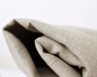 Pure linen fabric by the yard - 260gsm - pale warm shade natural linen fabric - not softened for home textile projects