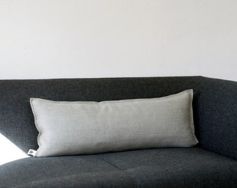 Linen lumbar pillow cover  - Grey natural linen fabric - eco friendly pillows throw 14x36   0042