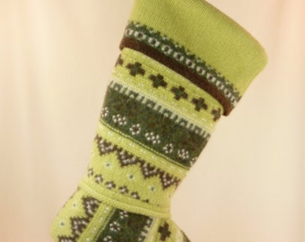 Christmas Stocking Felted Wool Knit Wool Avocado Green Fair Isle OOAK Recycled Repurposed Upcycled 329