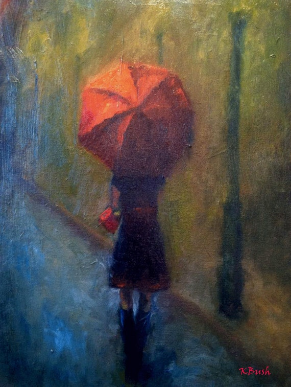 original oil painting of girl walking in rain with red umbrella