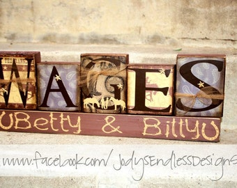 Western Family Name Blocks - Unique wedding Gift - Cowboy Name Blocks
