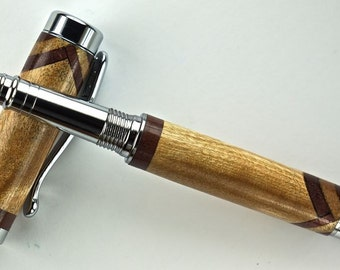 Handcrafted Wooden Pen Rollerball Pen Maple with Purple Heart accents Chrome Hardware 403RBG