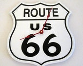"US ROUTE 66 - 11"" Lithographed Steel Metal Clock"