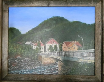 Original Painting of European Countryside Mountain Village with River and Houses