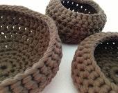 Crocheted Urchin Pot - Brown - Round