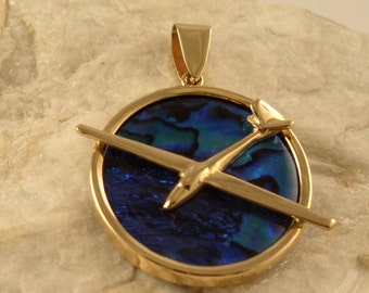 14kt or Silver Abalone Glider Airplane Pendant