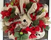 Winter Cream & Red Burlap Wreath