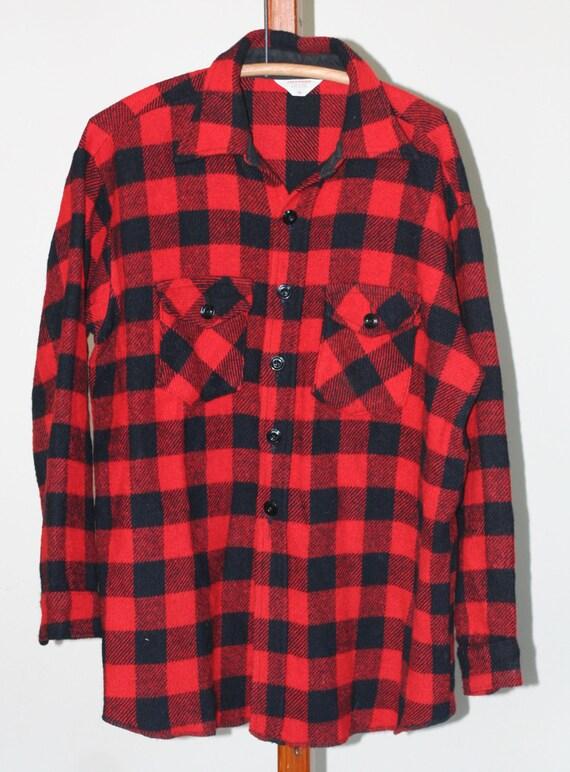 Vintage Black And Red Buffalo Plaid Shirt Size 18