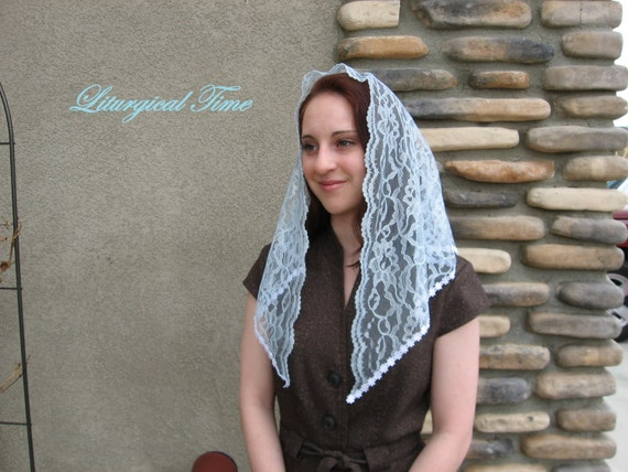 Lace Mantilla Chapel Veil Headcovering in Powder Blue