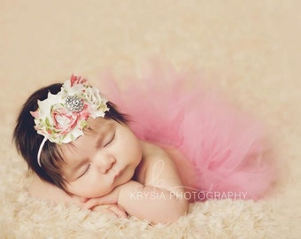 Newborn Tutu Set, Baby Tutu, Tutu, Tutu Set, Dusty Rose, Ivory, Shabby Flower Headband, Floral, Chiffon Rose, Photo Prop,