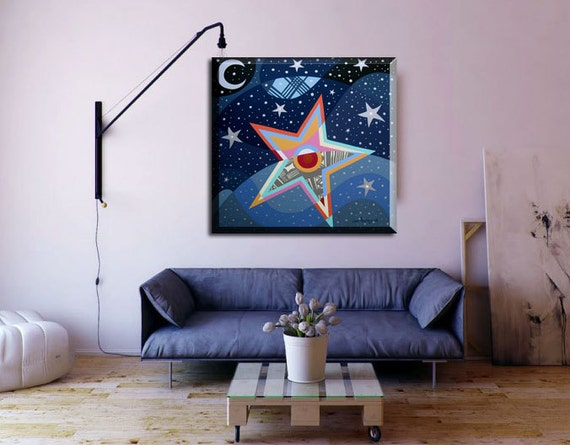 Original Star and Moon Art, Star Painting, Star and Moon Decor, Cubist Painting, Abstract Painting on Canvas, Geometric Painting