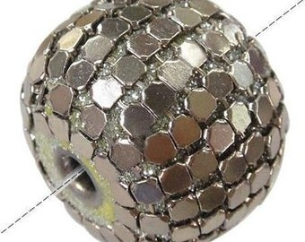 Indonesia Beads, Silver Plating Brass Core 25x20mm - 4 large beads