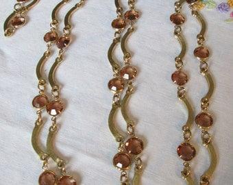 """Vintage Golden Citrine Bezel Set Crystal LONG Link Necklace 70"""" Gold Tone Metal"""