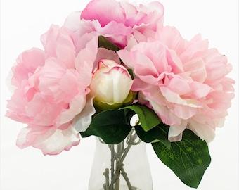 Silk Fuchsia Light Pink Peony Bud Taller Glass Vase Artificial Faux Arrangement